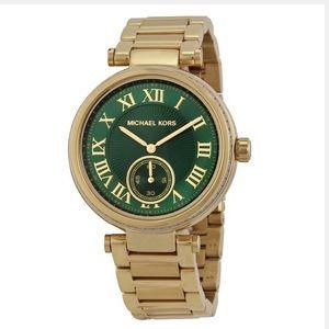 michael kors - gold quartz watch/green face